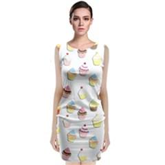 Cupcakes pattern Sleeveless Velvet Midi Dress