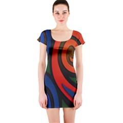 Simple Batik Patterns Short Sleeve Bodycon Dress