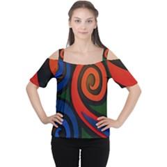 Simple Batik Patterns Women s Cutout Shoulder Tee
