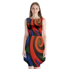 Simple Batik Patterns Sleeveless Chiffon Dress