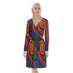 Simple Batik Patterns Long Sleeve Velvet Front Wrap Dress