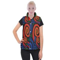 Simple Batik Patterns Women s Button Up Puffer Vest