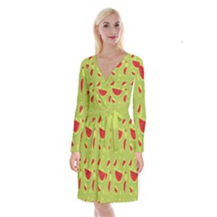 Watermelon Fruit Patterns Long Sleeve Velvet Front Wrap Dress