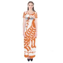 Chinese Zodiac Dog Short Sleeve Maxi Dress