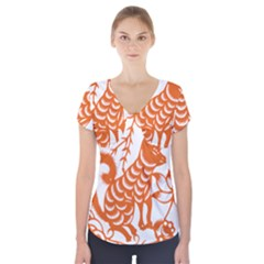Chinese Zodiac Dog Short Sleeve Front Detail Top