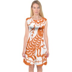 Chinese Zodiac Dog Capsleeve Midi Dress
