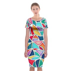 Colorful Abstract Painting  Classic Short Sleeve Midi Dress