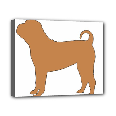 Chinese Shar Pei Silo Color Canvas 10  x 8