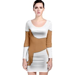 Chinese Shar Pei Silo Color Long Sleeve Bodycon Dress