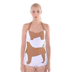 Chinese Shar Pei Silo Color Boyleg Halter Swimsuit