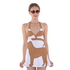 Chinese Shar Pei Silo Color Halter Swimsuit Dress