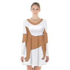 Chinese Shar Pei Silo Color Long Sleeve Velvet V-neck Dress