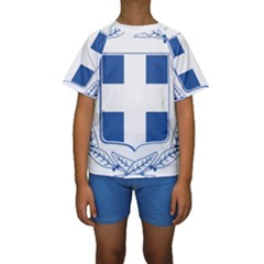 Greece National Emblem  Kids  Short Sleeve Swimwear