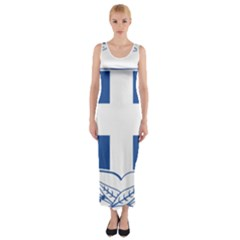 Greece National Emblem  Fitted Maxi Dress