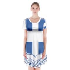 Greece National Emblem  Short Sleeve V-neck Flare Dress