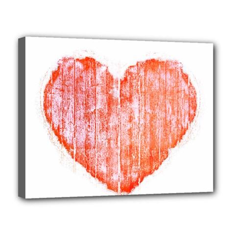 Pop Art Style Grunge Graphic Heart Canvas 14  x 11