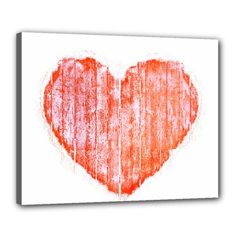 Pop Art Style Grunge Graphic Heart Canvas 20  x 16