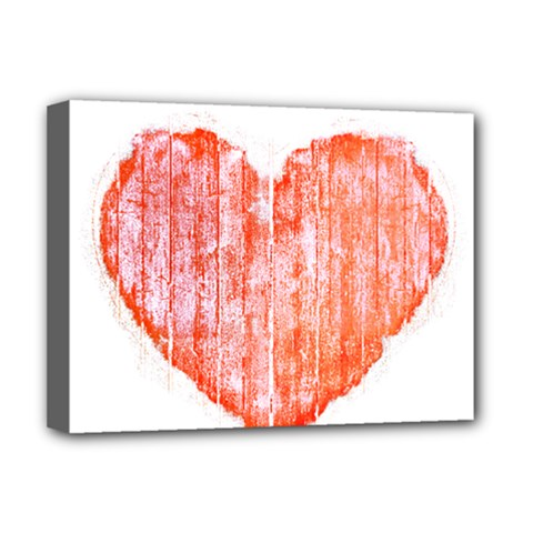 Pop Art Style Grunge Graphic Heart Deluxe Canvas 16  x 12