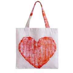 Pop Art Style Grunge Graphic Heart Zipper Grocery Tote Bag