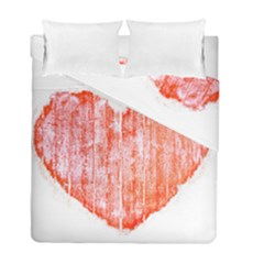 Pop Art Style Grunge Graphic Heart Duvet Cover Double Side (Full/ Double Size)
