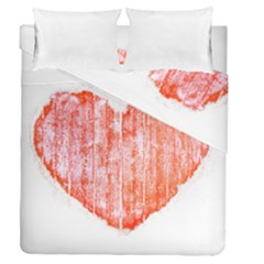 Pop Art Style Grunge Graphic Heart Duvet Cover Double Side (Queen Size)