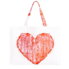 Pop Art Style Grunge Graphic Heart Zipper Large Tote Bag