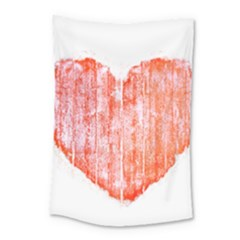 Pop Art Style Grunge Graphic Heart Small Tapestry