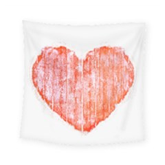 Pop Art Style Grunge Graphic Heart Square Tapestry (Small)