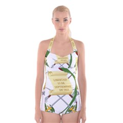 National Emblem of Guatemala  Boyleg Halter Swimsuit