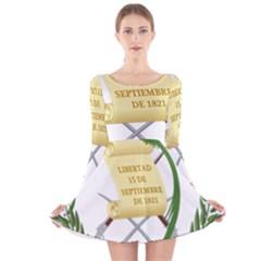 National Emblem of Guatemala  Long Sleeve Velvet Skater Dress