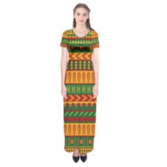 Mexican Pattern Short Sleeve Maxi Dress