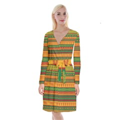 Mexican Pattern Long Sleeve Velvet Front Wrap Dress