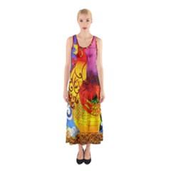 Chinese Zodiac Signs Sleeveless Maxi Dress