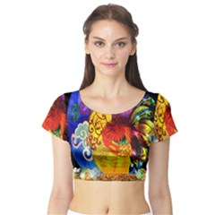 Chinese Zodiac Signs Short Sleeve Crop Top (tight Fit)