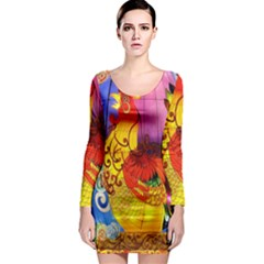 Chinese Zodiac Signs Long Sleeve Bodycon Dress