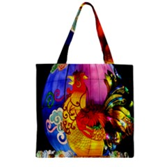 Chinese Zodiac Signs Zipper Grocery Tote Bag