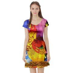 Chinese Zodiac Signs Short Sleeve Skater Dress