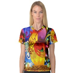 Chinese Zodiac Signs Women s V-Neck Sport Mesh Tee