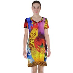 Chinese Zodiac Signs Short Sleeve Nightdress
