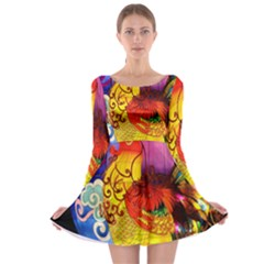 Chinese Zodiac Signs Long Sleeve Skater Dress