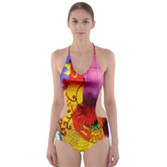 Chinese Zodiac Signs Cut-Out One Piece Swimsuit