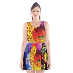 Chinese Zodiac Signs Scoop Neck Skater Dress