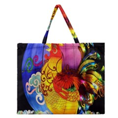 Chinese Zodiac Signs Zipper Large Tote Bag