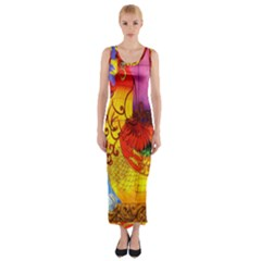 Chinese Zodiac Signs Fitted Maxi Dress