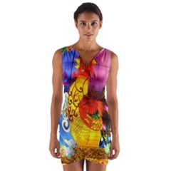 Chinese Zodiac Signs Wrap Front Bodycon Dress