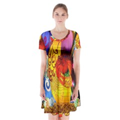 Chinese Zodiac Signs Short Sleeve V-neck Flare Dress