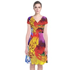 Chinese Zodiac Signs Short Sleeve Front Wrap Dress
