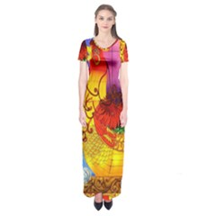 Chinese Zodiac Signs Short Sleeve Maxi Dress