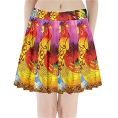 Chinese Zodiac Signs Pleated Mini Skirt