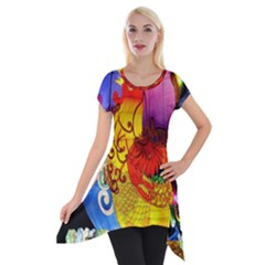 Chinese Zodiac Signs Short Sleeve Side Drop Tunic